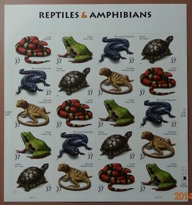 Scott 3818a Reptiles and Amphibians Sheet  Face Value - 7-40