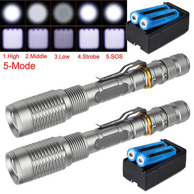 Shadowhawk  90000LM T6 5Modes 18650 LED Flashlight Zoomable Military Torch  USA