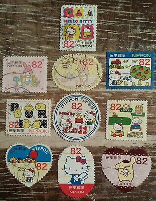 SC 3696 a-j SET y82 2014 HELLO KITTY - MY MELODY POMPOMPURIN JAPAN STAMPS USED