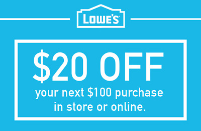 LOWES 20 OFF 100 DISCOUNT PROMO CODE IN-STORE - ONLINE FAST DELIVERY
