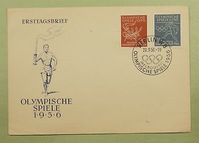 DR WHO 1956 FDC BERLIN GERMANY SUMMER OLYMPIC GAMES COMBO  d04856