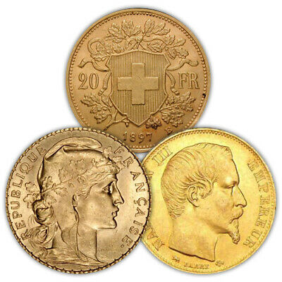 20 Francs Gold Coin FrenchSwiss Varied Year VG-