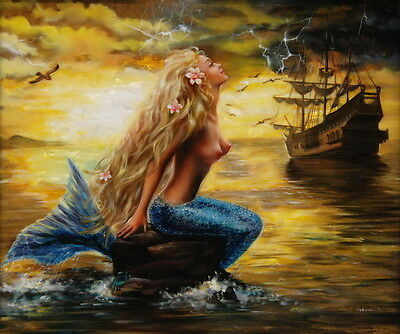 Modern Home art Decor mermaid and the pirate ship oil painting Printed on canvas