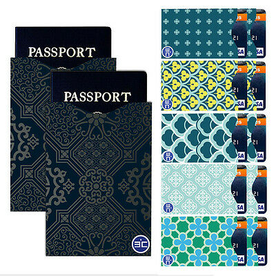 Fashion I3C RFID Blocking 10 Credit Card-2 Passport Holder Protector Sleeves DT4
