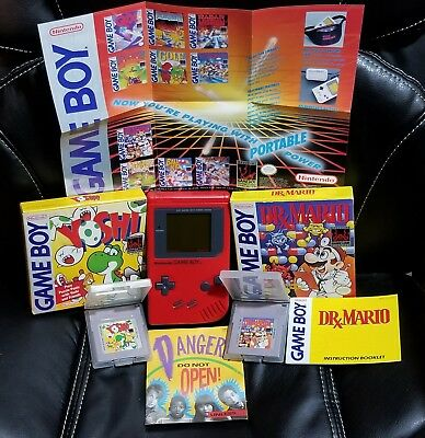 Gameboy Lot-Nintendo Game Boy Play It Loud Red Handheld System - 2 GamesIn box