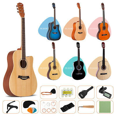 Acoustic Guitar with Guitar Case Strap Tuner-Pick Steel Strings Steel-stringed