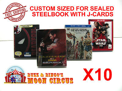 10x BLU-RAY STEELBOOK PROTECTIVE SLEEVE- BOX PROTECTORS- WITH J-CARD CUSTOM SIZE