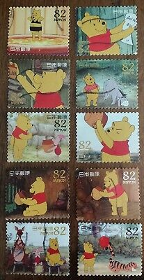 SCOTT 3685 82¥ 2014 JAPAN WINNIE THE POOH SET OF 10 STAMPS USED OFF PAPER LOT