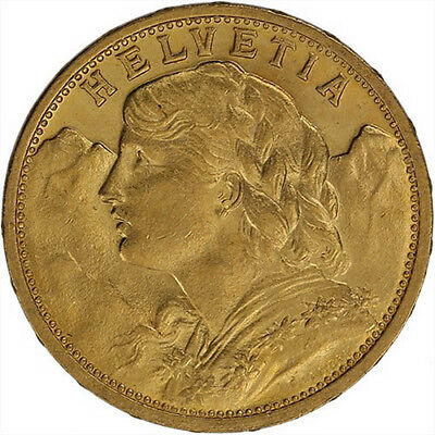 ON SALE 20 Francs Swiss Gold Coin - Helvetia BU