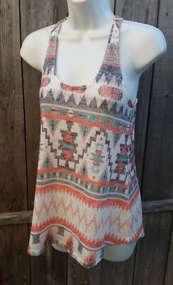 Wet-seal womens juniors Aztec Sleeveless racerback Tank Top Small S BoHo