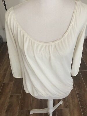 AMERICAN EAGLE OUTFITTERS Womens Top Size M White  34 Sleeve EUC
