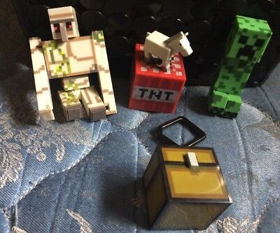Minecraft Lot of 5 Iron Golem TNT Mini Horse Creeper - Chest Clip Figures