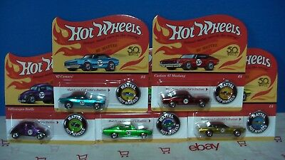 HOT WHEELS 2018  50 ANNIVERSARY RED LINE SET OF 5 CAMARO MUSTANG -3 IN STOCK