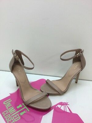 ALDO Caraa Beige Textured Leather Ankle Strap Sandal Heels Womens Size 8