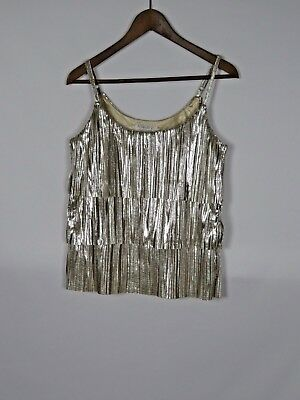 Forever 21 Essentials Womens Juniors Silver Tiered Spaghetti Strap Top Sz M