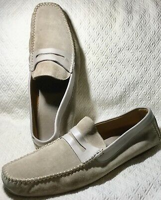 ALDO BRUE Stone Suede Leather Driving Moc Loafer  Size 13