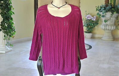 AMERICAN EAGLE Outfitters Womens Top Knit Blouse Size XL Maroon Soft Stretch