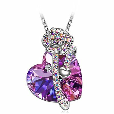 S SIVERY Mothers Day Gifts Love of Rose Women Necklace with Swarovski Crystals