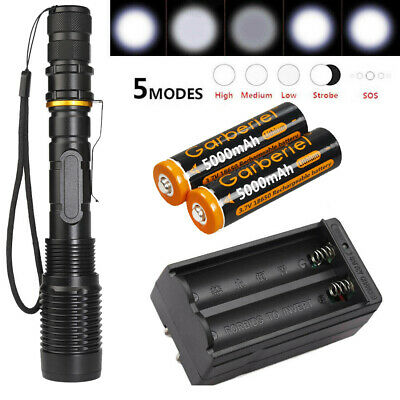 Military 15000LM Police LED Flashlight 5Modes T6 Light Torch Lamp -18650-Charger