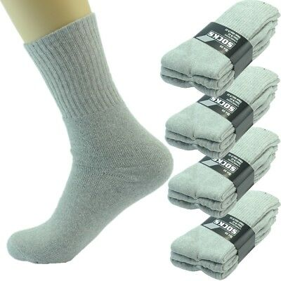 6 Pairs Mens Gray Sports Athletic Work Crew Cotton Long Socks Size 9-11 10-13