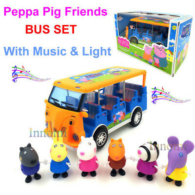 Peppa Pig Friends School Bus Included 6 Figures Toy Set with Light and Music