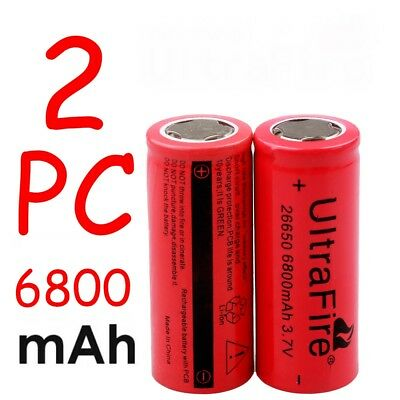 2PCS 26650 Li-ion Battery 3-7V 6800mA Rechargeable Battery For Flashlight Torch