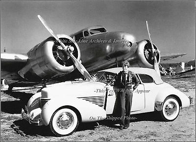 Photo Amelia Earhart W Her Lockheed Electra - Cord Convertible Coupe 1936