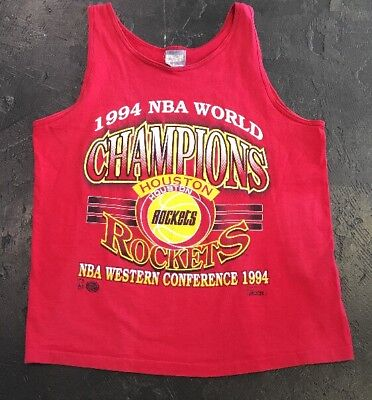 1994 NBA World Champions Houston Rockets Vintage Red Tank Tee MENS LARGE USA