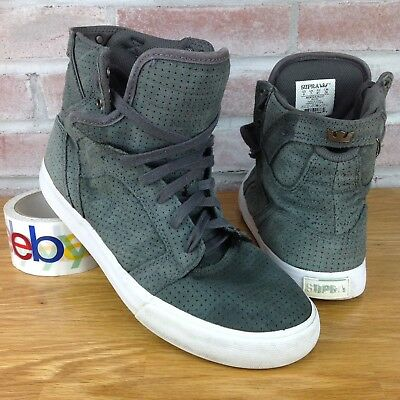 Supra Mens Size 8 High Top Sneakers Skateboarding Shoes Gray Suede Skytop Muska