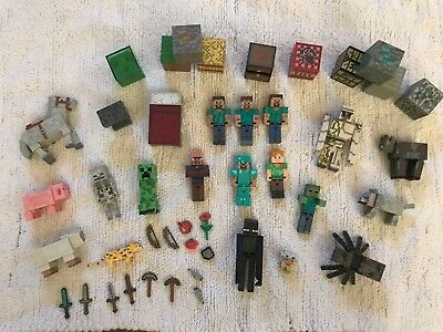 Lot of 45 MINECRAFT Action Figures Blocks Weapons Animals Zombies Spider