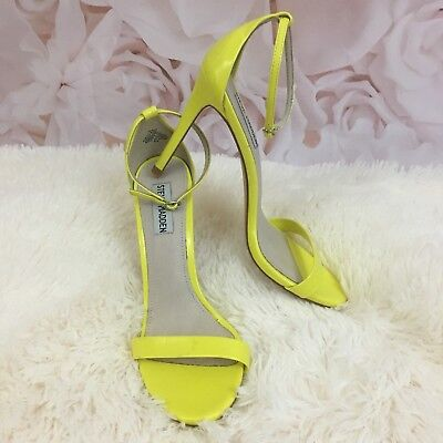 Steve Madden Womens 8-5M Bright Yellow Stecy Heels Pumps Ankle Strap Buckle