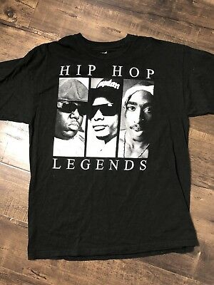Retro Hip Hop Legends Original Flavor Biggie Smalls Easy E Tupac 2Pac T Shirt XL