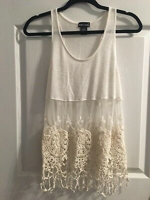 Wet Seal size L Large womens lace sheer knit top tank top blouse shirt white