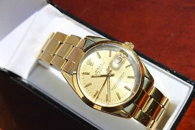 ROLEX 1550 OYSTER PERPETUAL DATE JUST ELECTRO GOLD PLATED MEN WATCH