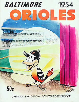 AWESOME 1954 BALTIMORE ORIOLES FIRST YEAR OFFICIAL PROGRAM PHOTO 8x10