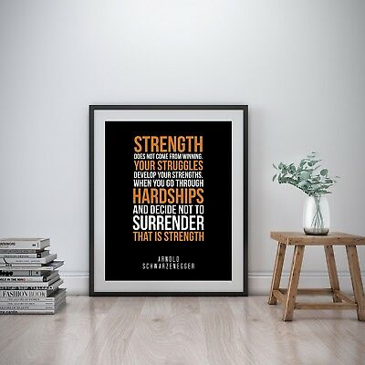 Arnold Schwarzenegger Inspirational Wall Art Print Motivational Quote Poster Gym