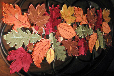 Autumn Fallen Leaves Collage Thanksgiving - Fall Decor Table Runner 36x 13