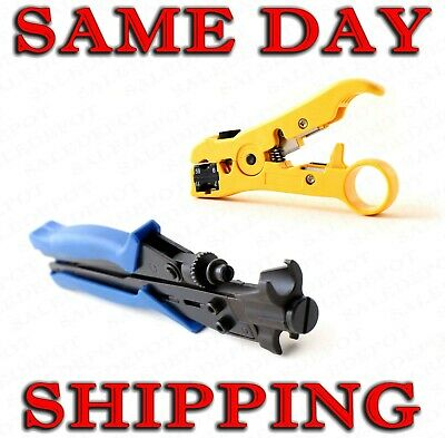 Coaxial Cable Stripping - Compression Tool for RG6 RG11 RG59 RG7  Strip - Crimp