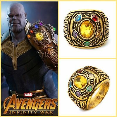 Thanos Infinity Gauntlet Ring Power War Avengers Cosplay Jewelry Stone 8 -12 US