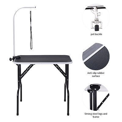 32 Black Large Portable Dog Cat Pet Grooming Table with Arm Noose Rubber Mat