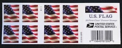ONE BOOK OF 20 U-S- FLAG USPS FIRST CLASS FOREVER POSTAGE STAMPS