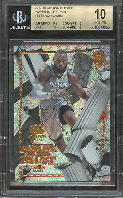 POP 1 BGS 10 17-18 CROWN ROYALE POWER IN THE PAINT LEBRON JAMES 4 INSERT WOW