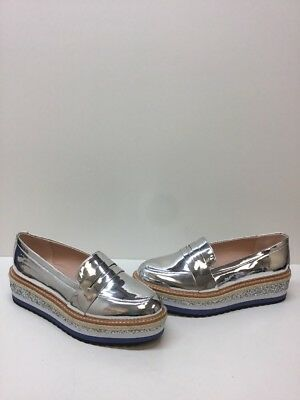 ALDO Pewter Patent Leather Slip On Platform Loafers Womens Size 11
