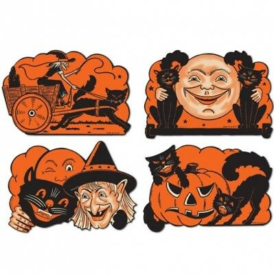 Vintage Halloween Cutouts 1 Paper Cutouts 9 4 Pack Halloween Party Decorations