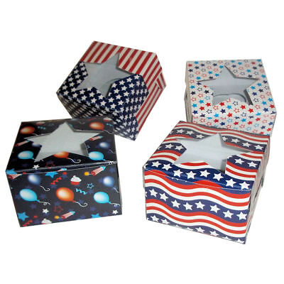 24-Pack of Patriotic USA July Fourth Party Cupcake Boxes