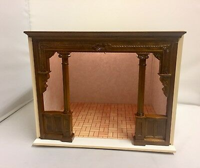 Dollhouse Miniature Furniture Room Box Solid Wood WSculpted Partition WLight