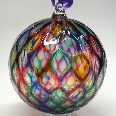 Hand Blown Glass Round Ornament  made by Tazza Glass in Ohio