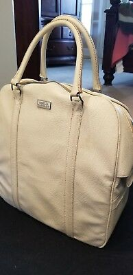 Vtg Off-White Vinyl Amelia Earhart Carrry On Luggage Overnight Bag