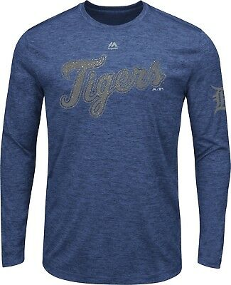 Detroit Tigers Majestic Mens MLB Long Sleeve  - Large Navy NWT