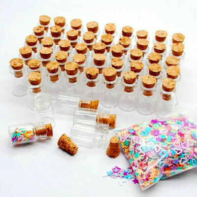 1236x 1ML Clear Small Glass Bottles Cork Stopper Mini Vial Containers Empty